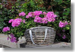 baskets, europe, flowers, horizontal, montreaux, switzerland, photograph