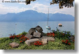 boats, clouds, europe, flowers, horizontal, montreaux, nature, sky, switzerland, photograph