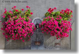europe, flowers, fountains, horizontal, montreaux, switzerland, photograph