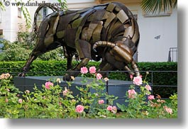 arts, bulls, europe, flowers, horizontal, metal, montreaux, sculptures, switzerland, photograph