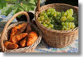 baskets, croissants, europe, grapes, horizontal, montreaux, switzerland, white, photograph