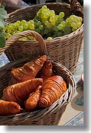 baskets, croissants, europe, grapes, montreaux, switzerland, vertical, white, photograph