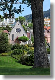 churches, europe, montreaux, switzerland, trees, vertical, photograph