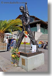 artists, europe, freddie, men, mercury, montreaux, musicians, people, sculptures, switzerland, vertical, photograph