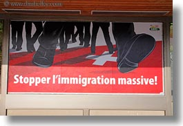 europe, horizontal, immigration, mass, montreaux, posters, stop, switzerland, photograph
