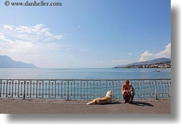 clouds, dogs, emotions, europe, horizontal, lakes, montreaux, nature, people, sky, solitude, switzerland, womens, photograph