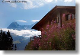 clouds, europe, flowers, horizontal, houses, mountains, murren, nature, sky, switzerland, photograph
