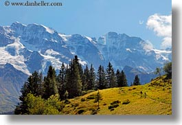big, europe, hikers, horizontal, mountains, murren, nature, snowcaps, switzerland, views, photograph