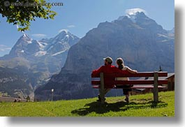 benches, couples, emotions, europe, hikers, horizontal, men, mountains, murren, nature, people, snowcaps, solitude, switzerland, womens, photograph