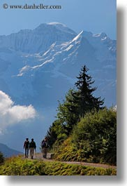 couples, europe, hikers, hiking, mountains, murren, nature, people, silhouettes, snowcaps, switzerland, vertical, photograph