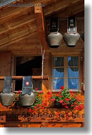 bells, cows, europe, houses, murren, switzerland, vertical, photograph