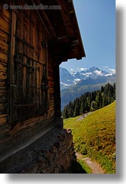barn, europe, mountains, murren, scenics, switzerland, vertical, photograph