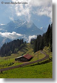 clouds, europe, mountains, murren, nature, scenics, sky, snowcaps, switzerland, tracks, trains, vertical, photograph