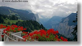 balconies, canyons, clouds, europe, flowers, geraniums, horizontal, meyers hotel, nature, sky, switzerland, views, wengen, photograph