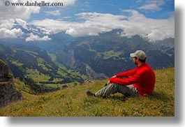 europe, hikers, horizontal, men, mountains, nature, people, red, roberts, snowcaps, switzerland, valley, wt people, photograph