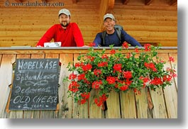 emotions, europe, geraniums, happy, hikers, horizontal, mark, men, people, roberts, smiles, switzerland, wt people, photograph