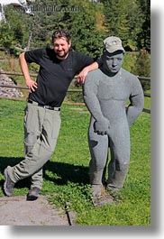 emotions, europe, happy, hikers, men, people, roberts, smiles, statues, switzerland, vertical, wt people, photograph