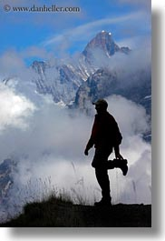 clouds, europe, hikers, men, mountains, nature, people, roberts, silhouettes, sky, snowcaps, switzerland, vertical, wt people, photograph