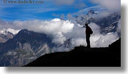 clouds, europe, hikers, horizontal, men, mountains, nature, people, roberts, silhouettes, sky, snowcaps, switzerland, wt people, photograph