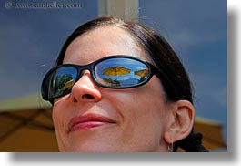 emotions, europe, horizontal, people, smiles, sunglasses, switzerland, umbrellas, vicky, womens, wt people, yellow, photograph