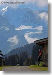 barn, europe, leaning, mountains, nature, people, snowcaps, switzerland, vertical, vicky, womens, wt people, photograph