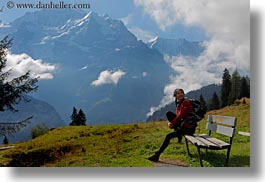 benches, clouds, emotions, europe, happy, horizontal, mountains, nature, people, sky, smiles, snowcaps, switzerland, vicky, womens, wt people, photograph