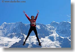 emotions, europe, happy, horizontal, jumping, mountains, nature, people, smiles, snowcaps, switzerland, victoria, womens, wt people, photograph