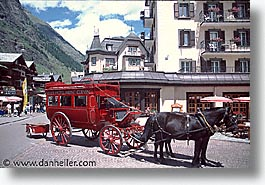 carriage, europe, horizontal, horses, switzerland, zermatt, photograph