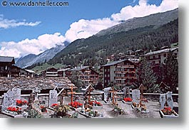 europe, graveyard, horizontal, switzerland, zermatt, photograph
