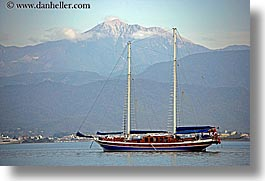 boats, cevri hasan, europe, gulet, horizontal, mountains, schooner, turkeys, photograph