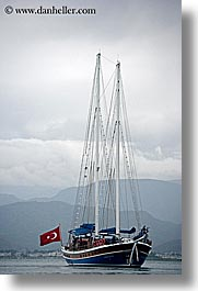 boats, cevri hasan, europe, flags, gulet, schooner, turkeys, vertical, photograph