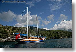 boats, cevri hasan, clouds, europe, flags, gulet, horizontal, schooner, sunny, turkeys, photograph