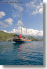 boats, cevri hasan, clouds, europe, flags, gulet, schooner, sunny, turkeys, vertical, photograph