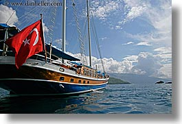 boats, cevri hasan, europe, flags, gulet, horizontal, schooner, sunny, turkeys, photograph