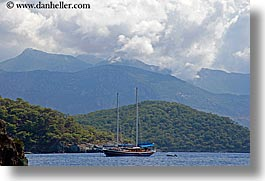 boats, cevri hasan, clouds, europe, gulet, horizontal, schooner, sunny, turkeys, photograph