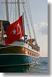 boats, cevri hasan, europe, flags, gulet, people, schooner, turkeys, vertical, photograph