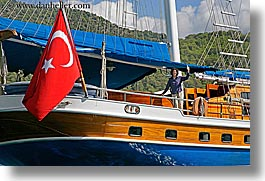 boats, cevri hasan, europe, flags, gulet, horizontal, people, schooner, turkeys, photograph