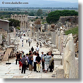 architectural ruins, curetes, ephesus, europe, people, square format, streets, turkeys, photograph