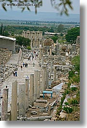 architectural ruins, curetes, ephesus, europe, streets, turkeys, vertical, photograph