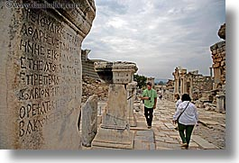 architectural ruins, curetes, ephesus, europe, horizontal, inscription, people, streets, turkeys, photograph