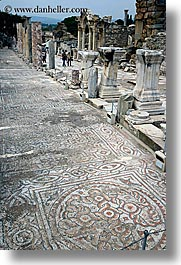 architectural ruins, curetes, ephesus, europe, mosaics, streets, turkeys, vertical, photograph