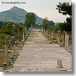 architectural ruins, ephesus, europe, harbor, square format, streets, turkeys, photograph