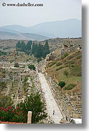 architectural ruins, ephesus, europe, marble, streets, turkeys, vertical, photograph