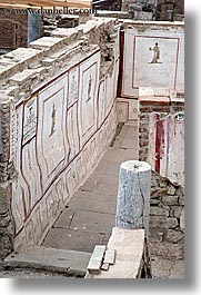architectural ruins, ephesus, europe, floors, mosaics, painted, turkeys, vertical, walls, photograph