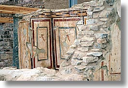 architectural ruins, ephesus, europe, horizontal, painted, turkeys, walls, photograph