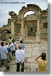 architectural ruins, ephesus, europe, hadrians, people, temples, turkeys, vertical, photograph