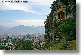 cityscapes, escarpment, europe, fethiye, horizontal, mountains, tombs, turkeys, photograph