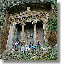 escarpment, europe, fethiye, square format, tombs, tourists, turkeys, photograph