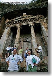 escarpment, europe, fethiye, tombs, tourists, turkeys, vertical, photograph