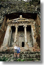 couples, escarpment, europe, fethiye, men, tombs, tourists, turkeys, vertical, womens, photograph